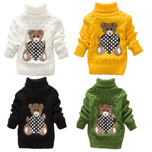 2017 Cartoon Baby Girls Sweater jumper Autumn Winter Kids Knitted Pullovers Turtleneck Warm Outerwear Boys Sweater(China)