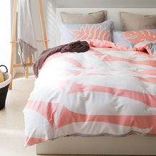 Sweet pink duvet cover set-white leaves print quilt cover/grey bed sheets/pillowcase,twin queen 3/4pcs twin queen size bedding