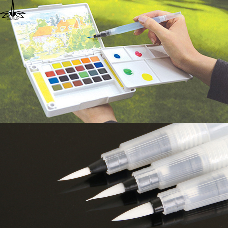 Water Brush Pen Set - Watercolour Brush Pens for Water Coloring Painting with Assorted Brush Tips That are Refillable for Watercolor 6 Piece Set Lettering and Calligraphy