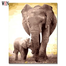 Elephant Wall Pictues Painting by Numbers On Canvas Arst DIY HandPainted Animal Coloring Cheap Oil Painting Gift For Child Decor(China)