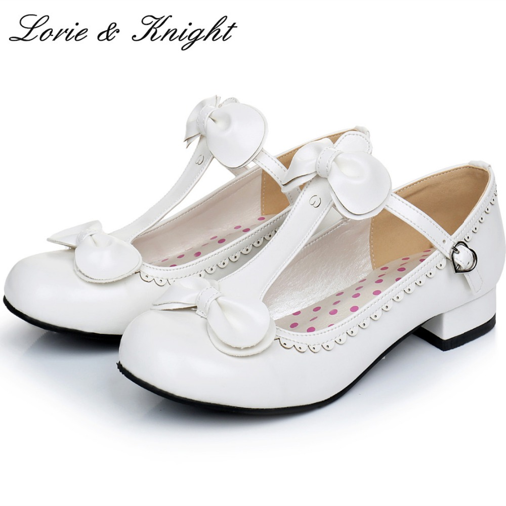 Japanese Sweet Lolita Cosplay T-strap Bowtie Mary Jane Shoes Princess Girl Square Heel Latin Dance Shoes<br>