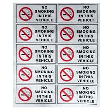 10Pcs NO SMOKING IN THIS VEHICLE Stickers Signs Vinyl Waring Mark Safety Decal Cars Taxi Hgv Fleet Car Styling
