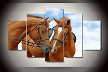Framed Printed horses sky blue Painting children's room decor print poster picture canvas Free shipping dd-2563