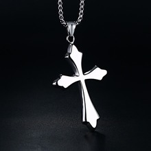 Men Woman  Simple Cross Crucifix Pendant Stainless Steel Titanium Necklace Silver Tone Jewelry with 24inch Chain