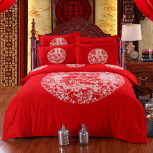 Traditional Chinese Wedding Bedding set Red Bedlinen 100% Cotton Duvet cover bed sheet set Queen Size 4pcs for Valentine's Day(China)
