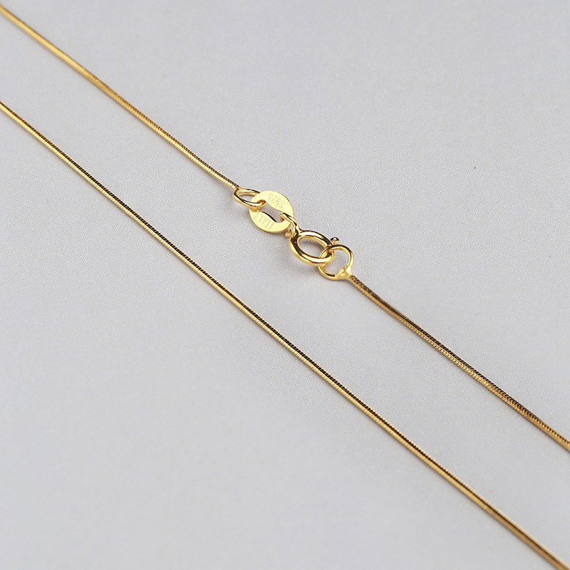 Wholesale-Sterling-Silver-Necklace-Women-925-Silver-Snake-Chain-Three-Gold-Color-0-6mm-Thinkness-Silver (3)
