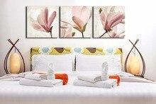 3 Шт. Цветок Магнолии Высокое разрешение Холст искусства Жикле prients Настенные панно для гостиной Unfamed(China)
