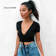 Women V Neck Crisscross Tie Crop Tee With Wrap Detail Short Sleeve Crop Tops(China)