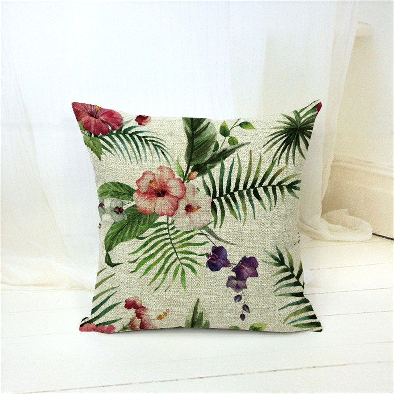 Cotton Linen Throw Pillow Case Tropical Plants Flower Cushion Cover Home Office Sofa Car Ornament Gadgets Houseware