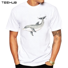 2017 Fashion Men T-Shirt Hipster Short Sleeve T Shirt Baby dolphin Printed Tee O-Neck Casual Tops(China)