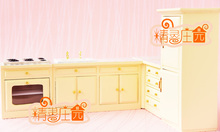 1:12 Scale Kitchen Wooden Furniture Miniature 5in1 Play house toys set Refrigerator+Washing/Stove tables+Drawers/Corner cabinets