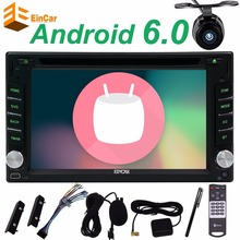 Android 6.0 car DVD Player Black Car Stereo GPS Navigation Head Unit Autoradio FM Radio Wifi External Mic and FREE Backup Camera