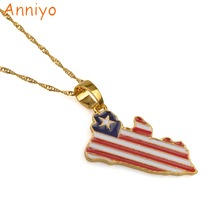Anniyo (Product Back With Brand Logo) Liberia Country Map & Flag Pendant Necklaces Gold/Silver Color Charm Maps Jewelry #076506(China)