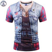 Mr.1991INC Europe America Fashion Men/Women 3d T-shirt Fake Two Pieces Jeans Tops Eagle Wolf T shirt Summer Tops Tees Shirts(China)