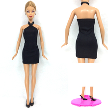 NK One Set 2016 Princess Doll Handmade Colthes Fashion Dress Lady Black Cool Outfit +One Pair  Black Heels For Barbie Doll 005A