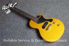 Beautiful Look Top Quality China LP Junior Electric Guitar Gold Sparkle Finish P90 Pickups China Musical Instrument