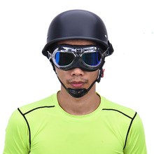 2017 New Stylish WWII Vintage German Helmet Half Face Moto Motorcycle Motocicleta Capacete with Free Goggles Men Adult(China)