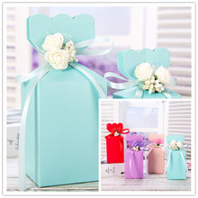 2017 New Large Small Middle Solid Romantic Candy Boxes with Plastic Flowers and Ribbon Paper Wedding Favor Party Gift 20pcs/lot