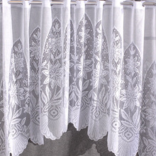 Jacquard Warp Knitted Screen Polyester White Translucent Lace Short Door Curtain Kitchen Curtain Cafe Curtain 80X150CM