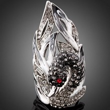 Black Stones White Australia Crystal Swan shaped Silver Color Rings For Women Christmas Jewelry Free Gift Box(China)