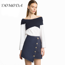 Buy DOMODA Apparel Solid Dark Blue Asymmetric Women Skirts Single Breasted High Waist Lady Mini Skirts Sweet Fashion Bottom for $11.07 in AliExpress store
