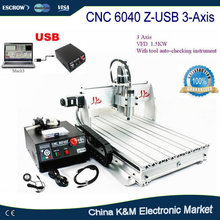 Free Shipping CNC 6040 Z-USB 3 axis with USB port woodworking metal engraving machine PCB carving drilling router engraver(China)