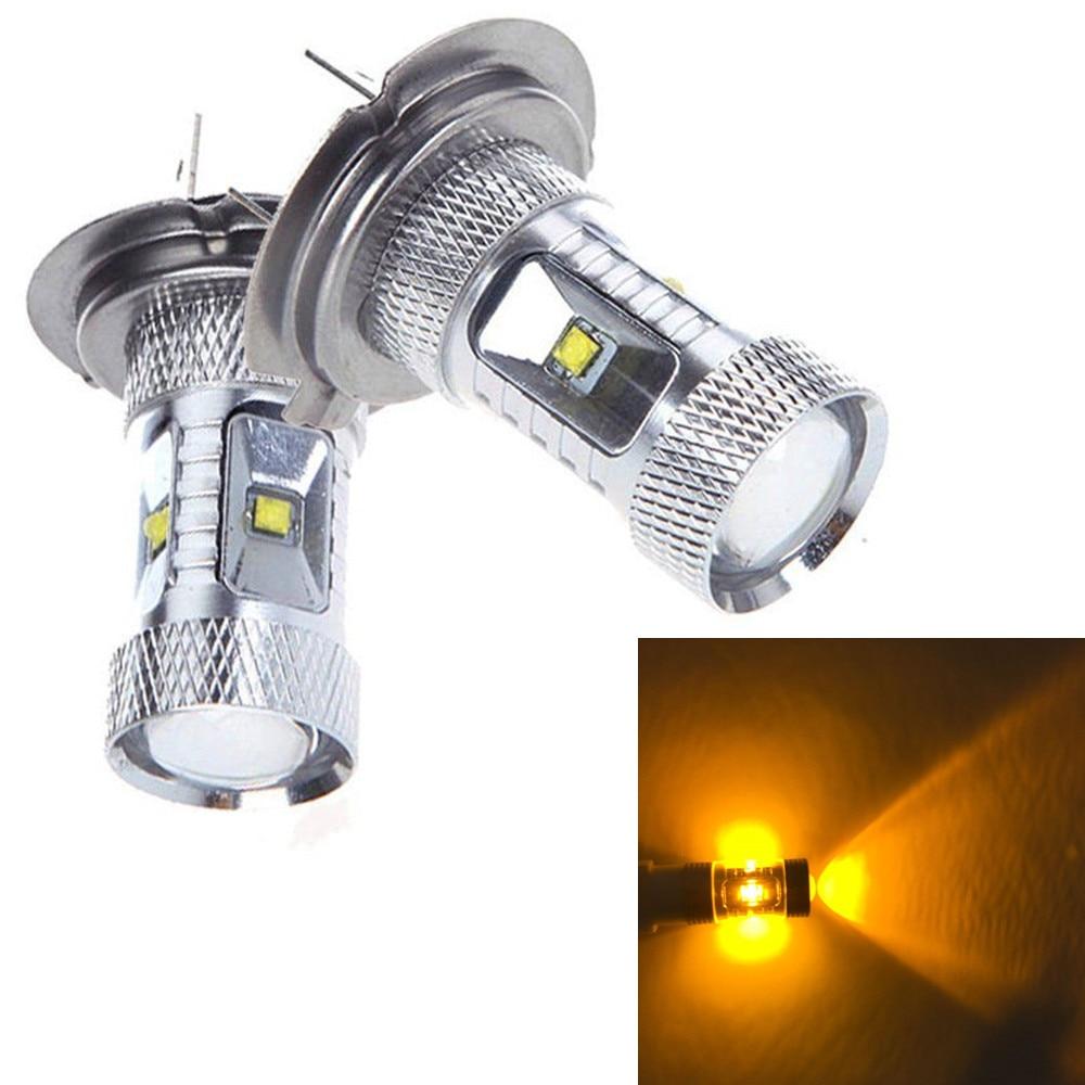2pcs 3000K Yellow Amber 30W H7 LED Fog Bulbs High Beam Daytime Running Lights<br><br>Aliexpress
