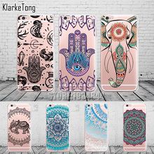 Mandala Elephant Indian Hamsa Pattern Phone Case For iPhone 6 6s 5 5s se 7/7Plus Transparent Silicone Protective Cover Coque