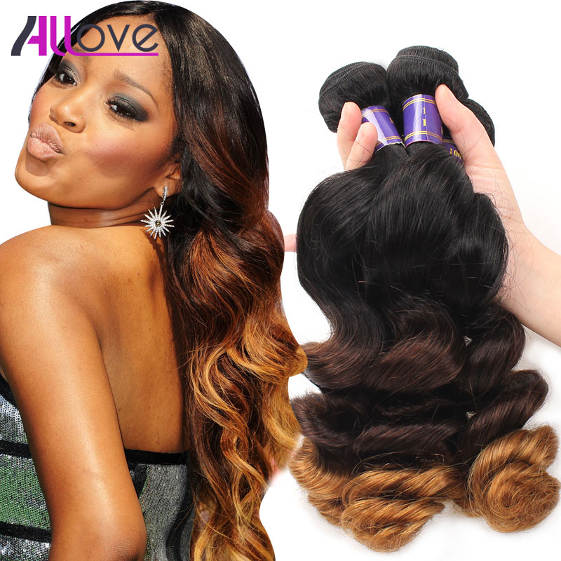 Ombre Brazilian Hair 4 Bundles Brazilian Loose Wave Cheap Ombre Human Hair Weave 1B/4/30 Ombre Hair Loose Wave Brazilian Hair10A<br><br>Aliexpress