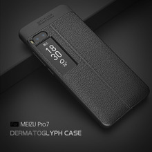 Luxury TPU Leather case For Meizu Pro 7 Case Shockproof Slim Soft Silicone Rubber Armor Cases Phone Cover For Meizu Pro 7(China)