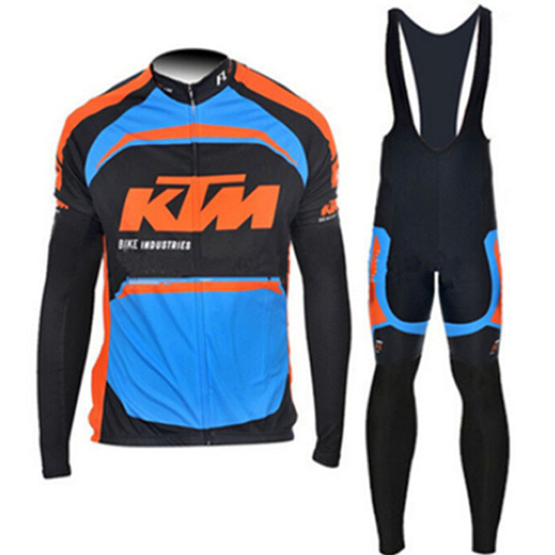 2017 KTM cycling jersey set ropa clismo long sleeve mtb bicycle clothes Breathable mens racing bike clothing sportswear G0706<br>