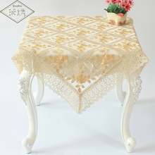 Free Shipping Hot Sales Luxury Gold Peony Pattern Square Organdy Embroidered TableCloth