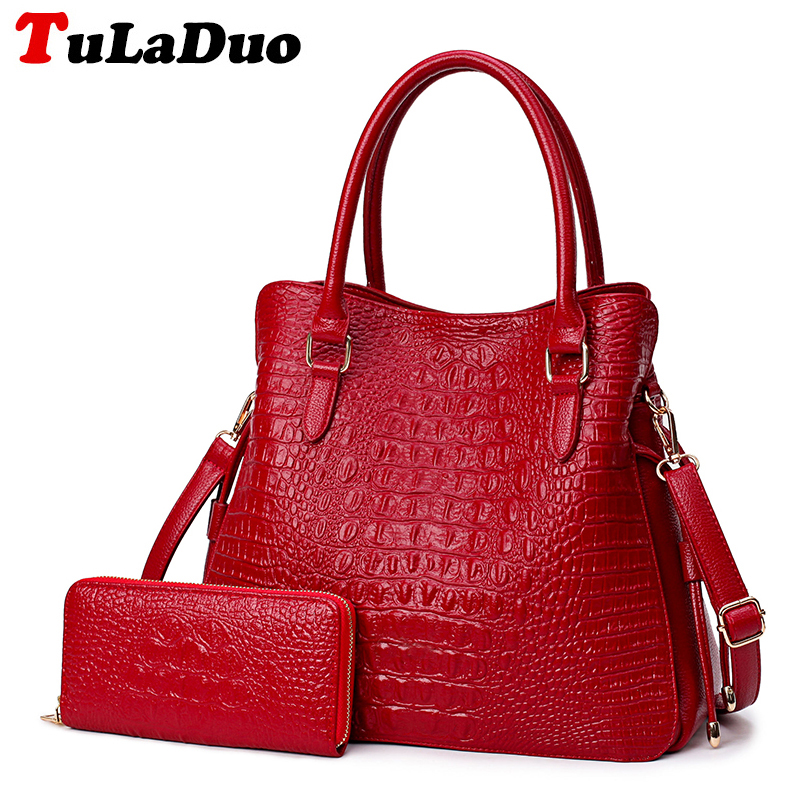 Embossed Alligator Tote Bag Fashion Top-handle Bags Brand Womens Leather Handbags High Quality Designer Shoulder Bags Purses Set<br>