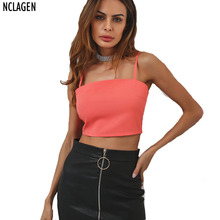 NCLAGEN 2017 Women Summer Autumn Camisole Orange Black Tank Top Sexy Back Bow Chiffon Sleevleess Camis Solid Casual Crop Vest(China)