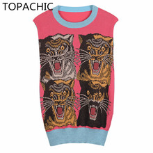 Topachic women pink fall autumn wool sweater Slim O-neck pullovers knit 4 leopards pattern sweater top tiger winter Blue