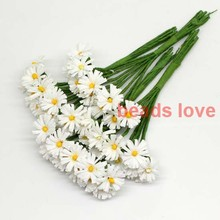 Sale!!! 1.5cm head White handmade Mulberry Paper Daisy Flower artificial sunflowers(100pcs/lot) Pick color(w03285)