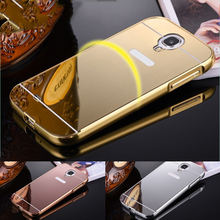 Luxury Mirror Armor Back Cover For Samsung Galaxy S4 mini case Aluminum Metal Protective Back Shell Housing For Samsung S4Mini