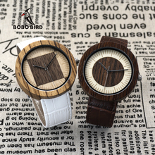 BOBO BIRD Saat Erkekler Circle and Square Pattern Dial Male Watches Zebra Wooden Watches Leather Strap for Men in Gift Box(China)