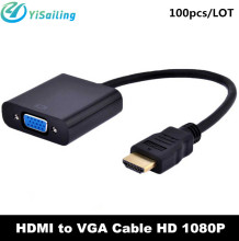 DHL 100pcs/lot HDMI to VGA Cable HDMI Male to VGA RGB Female HDMI to VGA Video Audio Converter Cables HD 1080P for PC Laptop(China)
