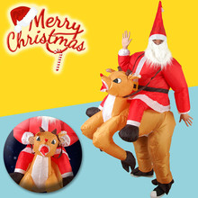 New Inflatable Santa Costume Christmas Adult Funny Cosplay Fancy Dress Outfit Santa Claus Deer Cosplay Costumes For X-mas Gift(China)