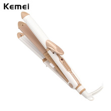 Kemei Pro Hair Straightener Salon Styling Tool Ceramic Flat Iron Electric Hair Curler Corrugated Corn Curl Curling Tongs Crimper(China)