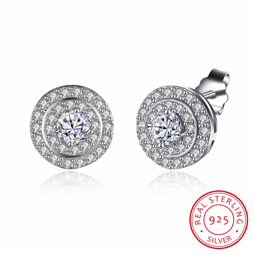 Star Halo Stud Earrings Solid 925 Sterling Silver 4 Carat Round Cut Created crystal Bridal Bridesmaid Jewelry(China)