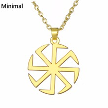 Minimal Viking Tunes Symbol of Wealth Pendant & Necklace Link Chain Supernatural Man Gold/Sliver Color Jewelry Acessory