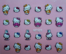 Mix Order: $0.7 XF322 Free Shipping Brand 3D Design Tip Nail Art Hello Kitty Nail Stickers Decals Carving Nail Art Decorations