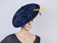 NEW Navy blue ARRIVAL! Large Matte satin fascinator sinamay hat Formal dress hat for Wedding Races.FREE SHIPPING