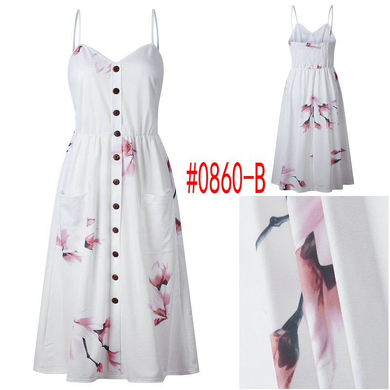 Summer Women Dress 19 Vintage Sexy Bohemian Floral Tunic Beach Dress Sundress Pocket Red White Dress Striped Female Brand Ali9 30