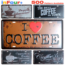Coffee Car License Plate Vintage Home Decor Tin Sign Bar Pub Cafe Wall Decor Metal Sign Metal Painting Crafts Metal Plaque