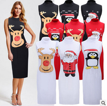 Fashion Women Clothes Christmas Party Dresses Santa Claus Deer Penguin Printed Sleeveless O-neck Elegant Xmas Dress Clothing