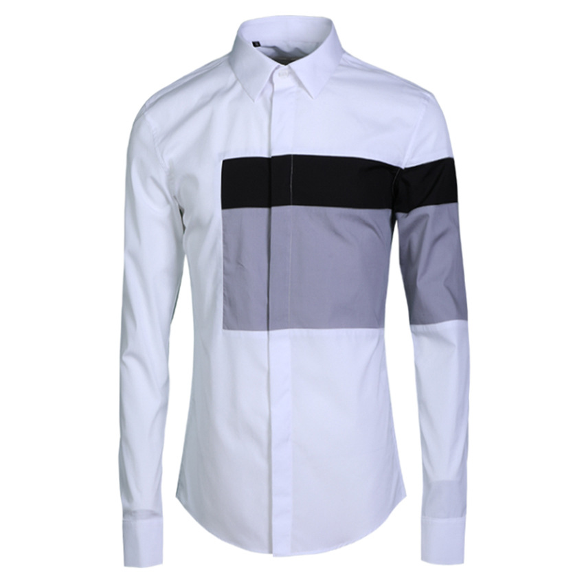 New Classic Black And White Coloured Men Fashion Casual long slveeve Shirts high quality cotton plus size M L XL 2XL 3XL 4XL