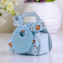 Bear Shape DIY Paper Gift Box Christening Baby Shower Party Favor Boxes Paper Candy Box with Bib Tags & Ribbons12pcs